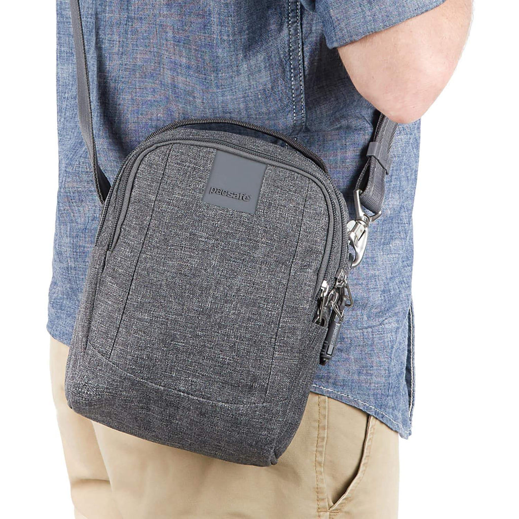 Metrosafe LS100 Anti-Theft Crossbody Bag, Dark Tweed