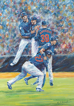 Bryant, rizzo, Chicago cubs world series, final moment World Series, world series 2016 prints, World Series oil painting, Game 7 Chicago cubs, at last
