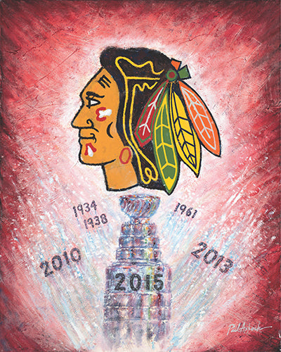 Tommy hawk, Stanley cup 2015, chicago Blackhawks, black hawks art, black hawks oil painting, black hawk print