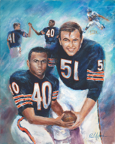 Gale Sayers, Dick Butkus, Brian Piccolo, Chicago bears hall of fame, chicago bears prints, chicago bears, dick Butkus prints, Gale sayers print, Brian piccolo print