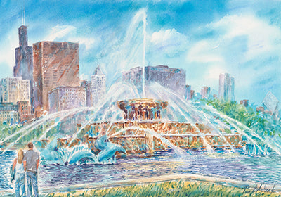 Buckingham fountain, Buckingham fountain Chicago print, Buckingham fountain watercolor, grant park Chicago, Chicago landmark, Chicago landmark print