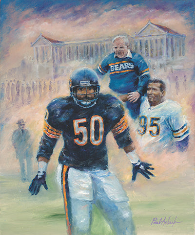 mike Singletary print, mike Singletary oil painting, the chicago bears vintage print, samurai mike print, soldier field artwork