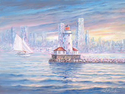 Chicago Lighthouse Watercolor Print