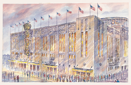 Chicago stadium, original Chicago stadium, Chicago blackhawks, Chicago bulls, the Chicago stadium watercolor