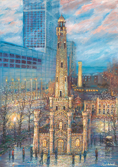 chicago water tower prints, chicago water tower oil painting, chicago waterpower art for sale, chicago water tower print for sale, michigan ave, Chicago historic building, chicago fire, breathtaking Chicago art work, Chicago wall art, Chicago wall art for sale, chicago art prints