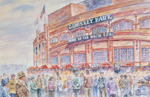 comiskey park prints, comiskey park artwork, old comiskey park, chicago white sox prints, ballpark prints, chicago stadium prints, Chicago stadium artwork, Chicago baseball, historic chicago stadium. chicago baseball artwork
