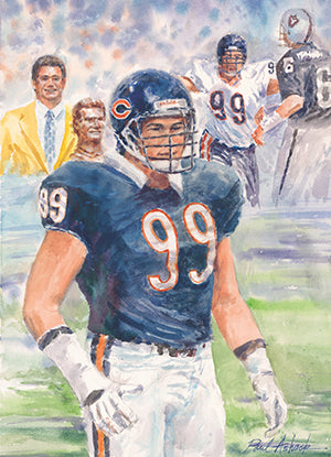dan Hampton print for sale, Chicago bears, chicago bears players, chicago bears number 99, dan Hampton oil painting for sale