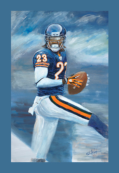 Devin hester oil painting, Devin Hester Chicago bears art, Chicago bears players, da bears, chicago football players prints, Chicago sports prints,