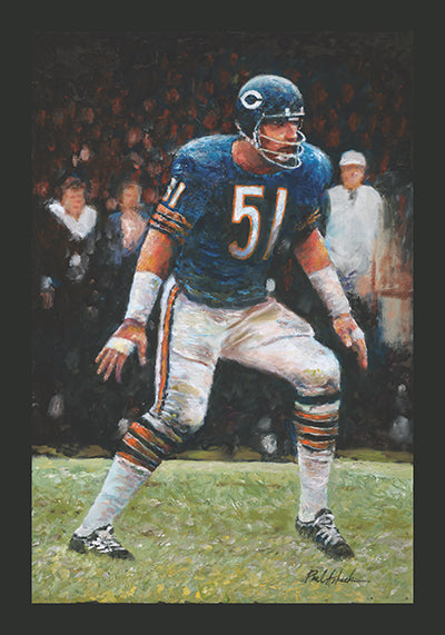 dick Butkus oil painting, dick Butkus prints, dick Butkus art for sale, chicago bears linebacker, chicago, dick Butkus art for sale, dick Butkus original oil painting for sale, dick Butkus #51, pro football hall of fame prints