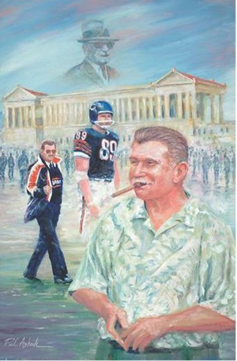 Mike Ditka prints, da coach prints, chicago bears art, ditka prints, mike ditka artwork, papa bear Halas print