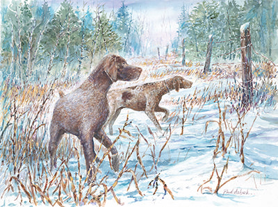 hunting dog winter scene, pointer hunting dogs, hunting dog print, German short haired dogs, German short haired print