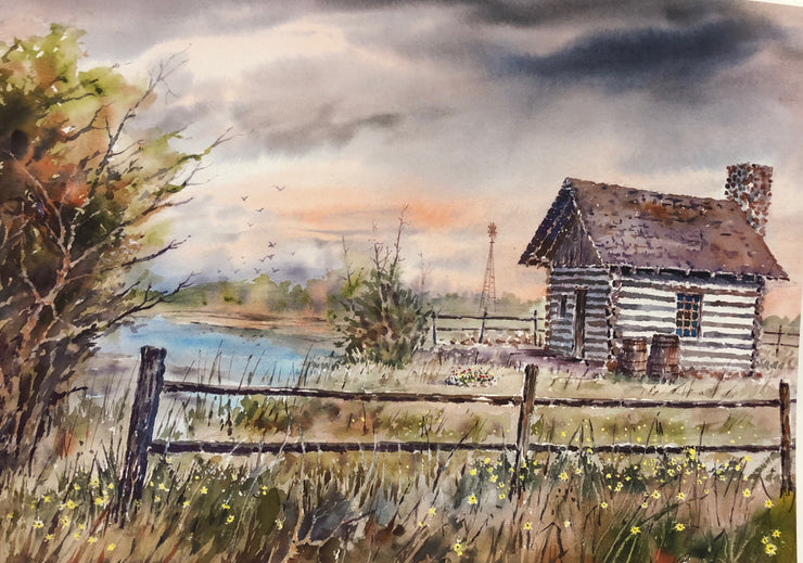 goose lake prairie print, goose lake prairie natural state area print, barn by a creek print, rustic farm house yellow flowers print, farm house by a lake watercolor, farm house in the fall print