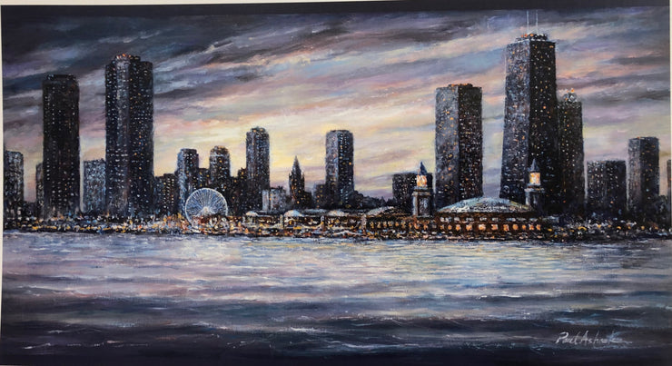 Chicago skyline navy pier, Chicago cityscapes, chicago artwork, chicago prints, chicago skyline print, chicago skyline oil painting, Chicago skyline art for sale, chicago scenes art, chicago skyline