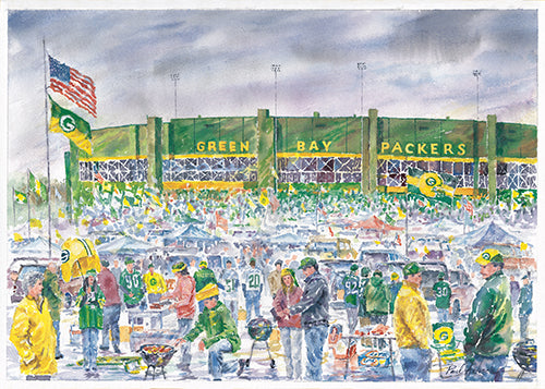 Green Bay packers print, tailgating in Green Bay, lambeau field tailgating print, lambda field artwork, the packers print, Green Bay artwork