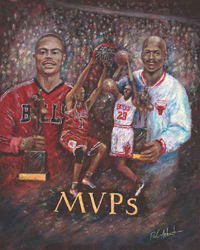 Chicago bulls MVP Michael Jordan, Derek rose print, Michael Jordan art work, Michael Jordan and Derek rose artwork, Chicago bulls oil painting, chicago bulls, chicago artwork, Chicago sports artwork