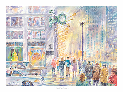 macys on state street print, Marshall fields on state street watercolor, the Marshall fields building clock print, Marshall fields at Christmas print, Marshall fields state street print