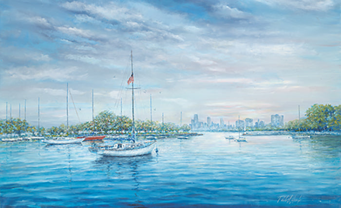 montrose harbor chicago print, chicago lake front, chicago lakefront, sail boat print, sail boat oil painting, affordable chicago prints, affordable chicago artwork, Montrose harbor print