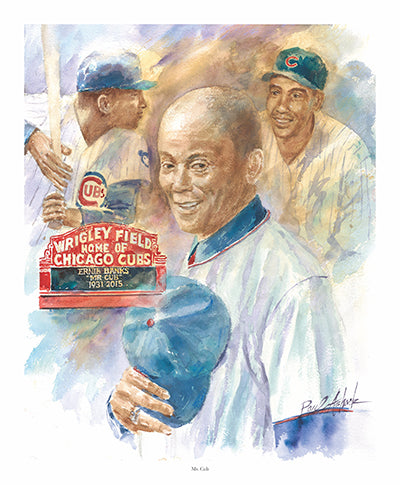 ernie banks prints for sale, Ernie banks water color, chicago cubs art for sale, Mr. Cub art, Ernie banks Chicago cubs, wrigley field, Chicago baseball