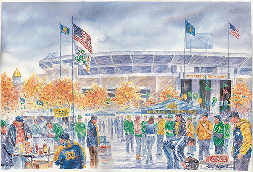 fighting Irish print, Notre dame watercolor, Irish tailgating, Notre dame stadium, university of Notre dame, Notre dame tailgating, Notre dame football