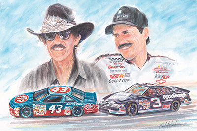 Richard petty print, nascar print, nascar legends artwork, nascar watercolor, dale Earnhardt print, Earnhardt and petty print, legends of nascar