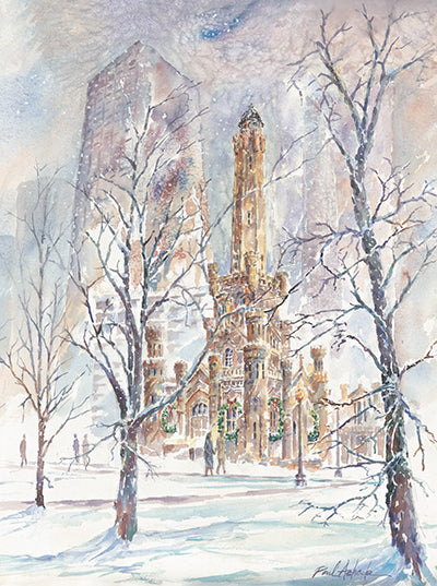winter scene chicago, the water tower Christmas time, the water tower michigan ave, chicago snow storm, chicago cityscape print, chicago landmark art for sale, chicago art work, Chicago prints