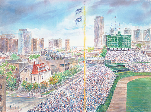 Wrigley Field & Budweiser House Watercolor Print