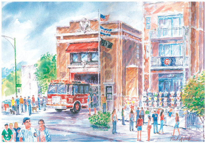 Wrigley Field Firehouse Station Watercolor Print