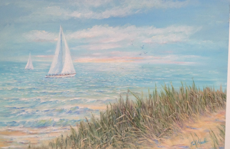 beach scene print, beach scene with sea grass watercolor, sea grass and sailboat print, Lake Michigan sea grass print, beach house watercolor, beach house art, Indiana dunes watercolor, Indiana dunes print, sailboat print