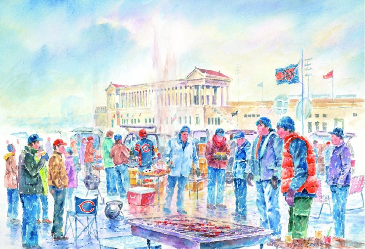 Soldier Field Tailgating Watercolor Print