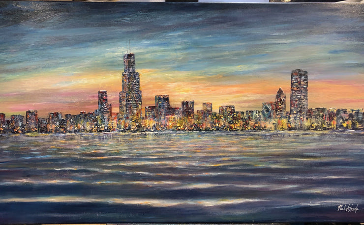 chicago skyline at dusk, Chicago skyline Lake Michigan, chicago artwork, Chicago oil painting