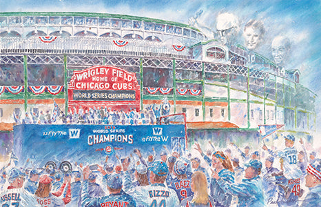 chicago Wrigley Field cubs, World Series parade print, Chicago cubs World Series parade, Ernie banks, harry carry, Ron Santo, Rizzo, Chicago cubs prints