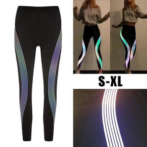 fashion Rainbow Reflective Leggings push up Fitness leggings Pants Sportswear Glow In The Dark legging fitness feminina academia