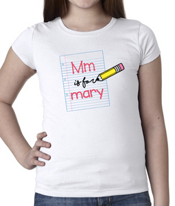 Notebook with Pencil name shirt