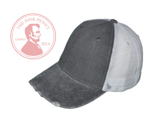 Custom Embroidered Gray with white mesh back Hat