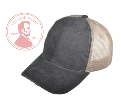 Custom Embroidered Gray with khaki mesh back Hat