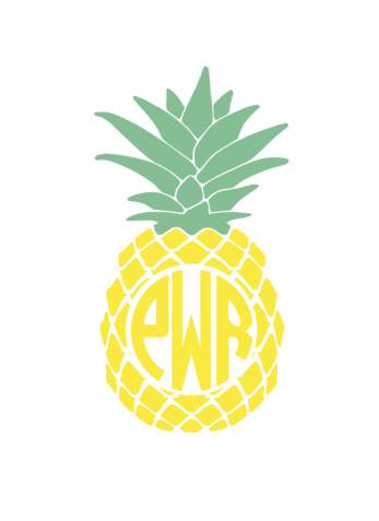 Personalized Monogrammed Pineapple outdoor decal
