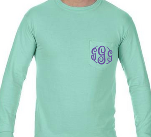 """Island Reef"" - Long Sleeve Comfort Color with Pocket & Monogram"