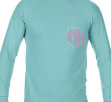 "Load image into Gallery viewer, ""Chalky Mint"" - Long Sleeve Comfort Color with Pocket & Monogram"