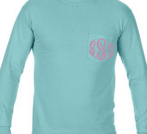 """Chalky Mint"" - Long Sleeve Comfort Color with Pocket & Monogram"