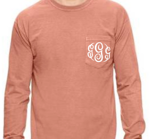 """Terracotta"" - Long Sleeve Comfort Color with Pocket & Monogram"
