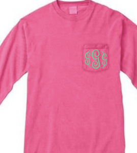 """Crunchberry"" - Long Sleeve Comfort Color with Pocket & Monogram"
