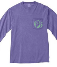 "Load image into Gallery viewer, ""Violet"" - Long Sleeve Comfort Color with Pocket & Monogram"