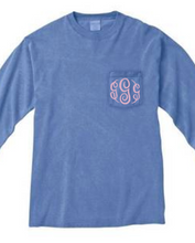 "Load image into Gallery viewer, ""Flo Blue"" - Long Sleeve Comfort Color with Pocket & Monogram"
