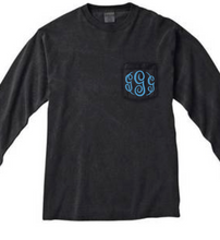 "Load image into Gallery viewer, ""Black"" - Long Sleeve Comfort Color with Pocket & Monogram"