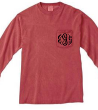 "Load image into Gallery viewer, ""Crimson"" - Long Sleeve Comfort Color with Pocket & Monogram"
