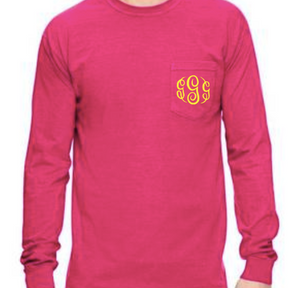 """Heliconia"" - Long Sleeve Comfort Color with Pocket & Monogram"