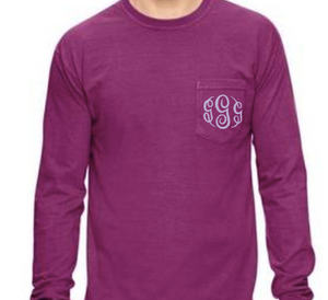 """Boysenberry"" - Long Sleeve Comfort Color with Pocket & Monogram"