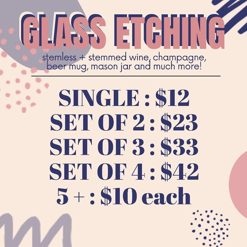 Etching or Decal Glassware Pricing