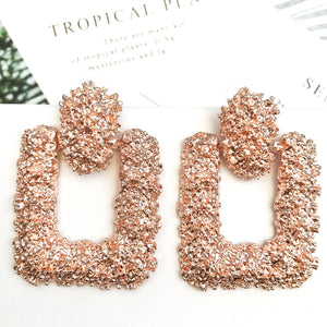 Luxe Rose Gold Square Earrings - Nicholls Jewellery