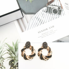 Load image into Gallery viewer, Diana Black Hoop Earrings - Nicholls Jewellery